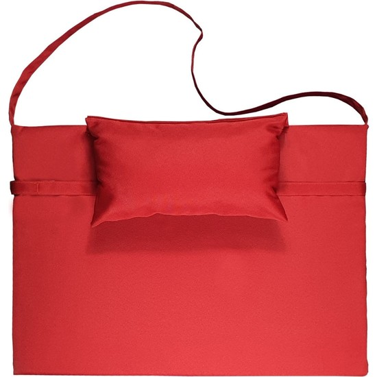Bysay Taşınabilir Katlanır Çanta Şezlong Minderi, Yastıklı Minder (Kırmızı)