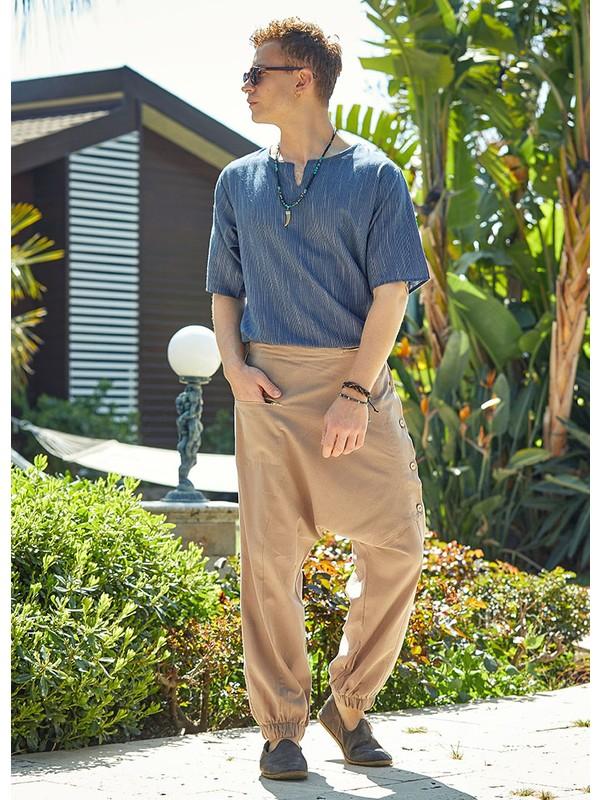 Clandestino Pamuklu Modern Şalvar Pantolon Krem