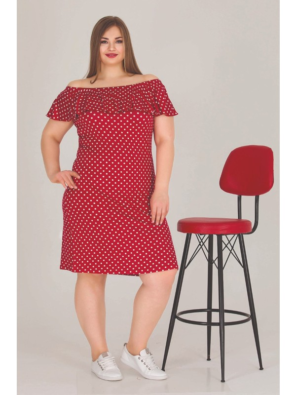Hayal Sepeti Lady Kırmızı Büyük Beden Tunik Gecelik - Lady 8847 Battal Beden Tunik