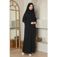 Medipek Kolay Giyilebilen Tek Parça Namaz Elbisesi Siyah