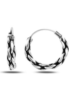 Silverella Gümüş 925 Ayar 16 mm Oksitli Halka Küpe