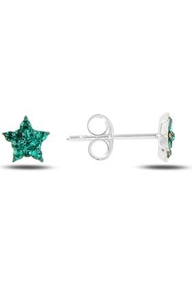 Silverella Gümüş 925 Ayar Yıldız Kristal Taşlı Küpe
