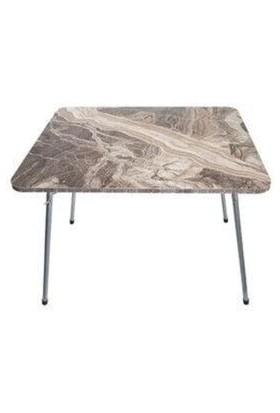 Marketonya Katlanır Masa Balkon Bahçe Kamp Masası Piknik Masası 60X80 - Kahverengi Mermer Desen