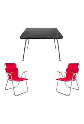 Marketonya 45X60 Siyah Granit Desenli Katlanır Masa + 2 Adet Kırmızı Kamp Sandalyesi Katlanır Sandalye