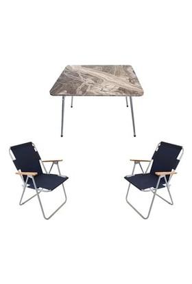 Marketonya 45X60 Kahverengi Mermer Desenli Katlanır Masa + 2 Adet Lacivert Kamp Sandalyesi Katlanır Sandalye
