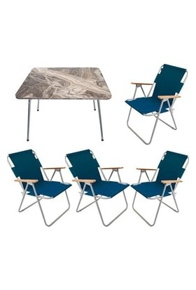Marketonya 45X60 Kahverengi Mermer Desenli Katlanır Masa + 4 Adet Lacivert Kamp Sandalyesi Katlanır Sandalye