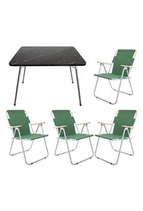 Marketonya 60X80 Siyah Granit Desenli Katlanır Masa + 4 Adet Yeşil Kamp Sandalyesi Katlanır Sandalye
