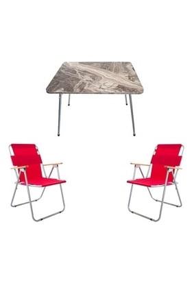 Marketonya 60X80 Kahverengi Mermer Katlanır Masa + 2 Adet Kırmızı Kamp Sandalyesi Katlanır Sandalye