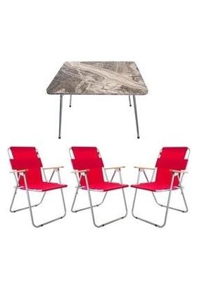 Marketonya 60X80 Kahverengi Mermer Katlanır Masa + 3 Adet Kırmızı Kamp Sandalyesi Katlanır Sandalye