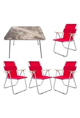 Marketonya 60X80 Kahverengi Mermer Katlanır Masa + 4 Adet Kırmızı Kamp Sandalyesi Katlanır Sandalye