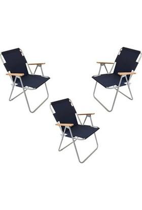 Marketonya 3 Adet Lacivert Kamp Sandalyesi Katlanır Sandalye