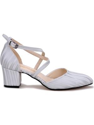 Potincim Tier 1990 3-D 5 cm Topuk Kadın Sandalet Ayakkabı Gümüş