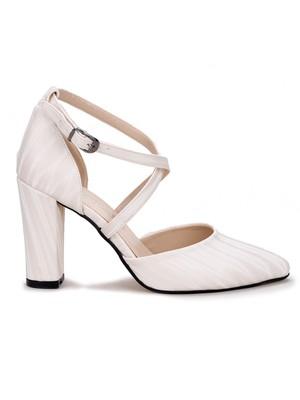 Potincim 13600 3-D Cilt 8 cm Topuk Kadın Sandalet Ayakkabı Sedef
