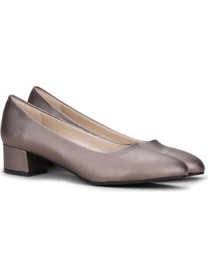 Potincim Alens 401 Parlak Büyük Numara 3 cm Topuk Bayan Ayakkabı Platin