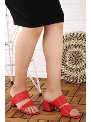 Potincim 907-2148 Cilt 5 cm Topuk Kadın Terlik Kırmızı