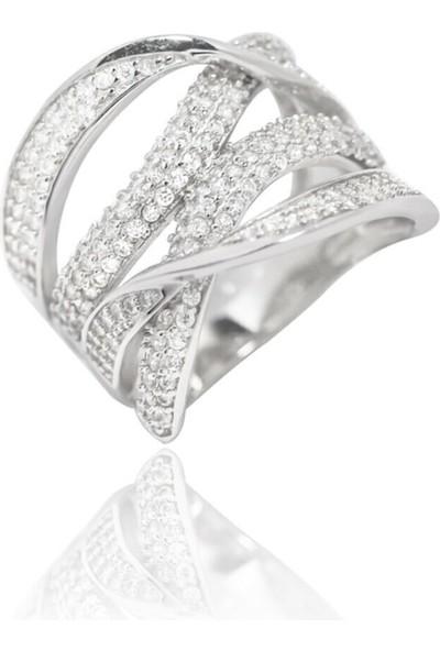 Glint Point Zirkon Taşlı Kıvrımlı Model Gümüş Yüzük