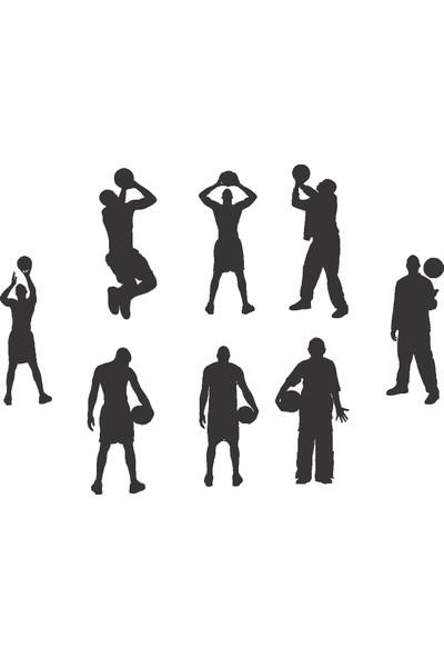 Doğal Dekor 8 Parça Tablo Silüet Basketbol Oynayan Adam