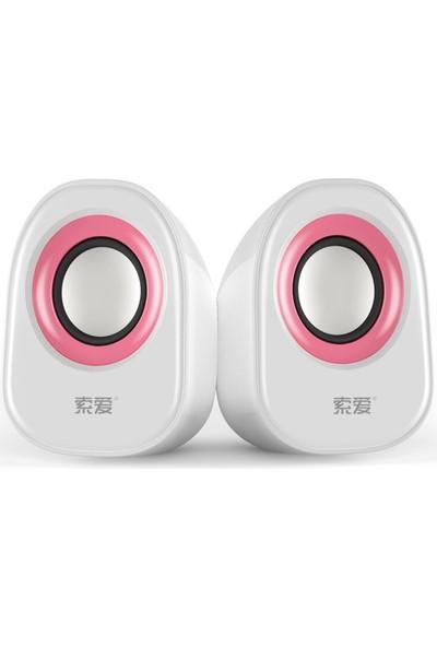 Soaiy Sa-L3 USB Speaker Ikili Masaüstü Hoparlör Beyaz