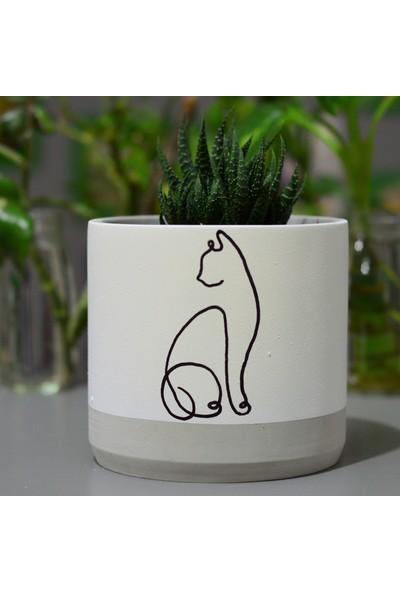Kedi Lineart Beton Saksı
