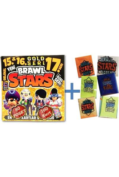 Brawl Stars 15-17 Gold Seri Oyun Kartı 50 Poşet 100 Kart - Karışık Renk ve Desende Brawl Stars 1 Adet Havlu Bileklik