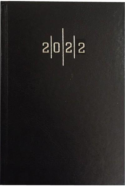 Lizy 2022 AJ902E Cilt Bezi Kapak Günlük Ajanda Siyah 14 x 20 cm