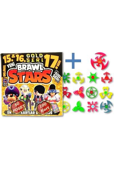 Brawl Stars 15-17 Gold Seri Oyun Kartı 50 Poşet 100 Kart - Karışık Renk ve Desende 1 Adet Stres Çarkı