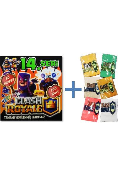 Clash Royale 14. Seri Oyun Kartı 50 Poşet 100 Kart - Karışık Renk ve Biçimde 1 Adet Havlu Bileklik