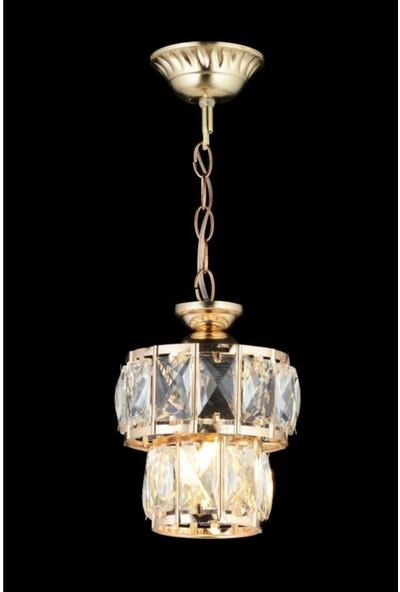 Luna Lighting Modern Kristal Taşlı Gold Sarı Sarkıt Tekli Avize