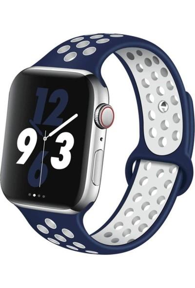Okkored Apple Watch 1,2,3,4,5,6 Nesil 42/44 mm Delikli Silikon Kordon Lacivert - Beyaz