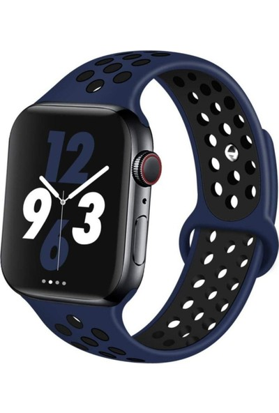 Okkored Apple Watch 1,2,3,4,5,6 Nesil 42/44 mm Delikli Silikon Kordon Lacivert - Siyah