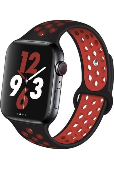 Okkored Apple Watch 1,2,3,4,5,6 Nesil 42/44 mm Delikli Silikon Kordon Siyah - Kırmızı