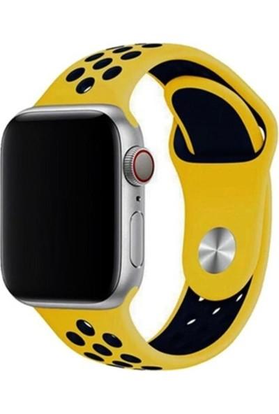 Okkored Apple Watch 1,2,3,4,5,6 Nesil 42/44 mm Delikli Silikon Kordon Siyah - Mavi