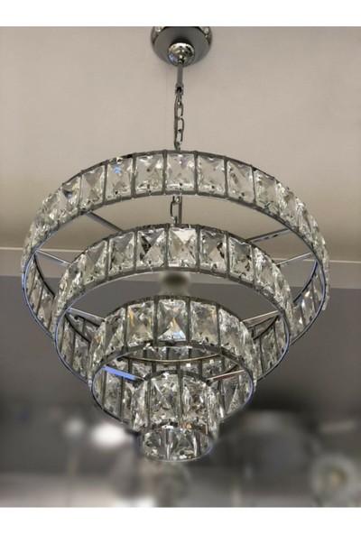 Luna Lighting Modern Şık Kristal Taşlı Krom Tekli Sarkıt Avize