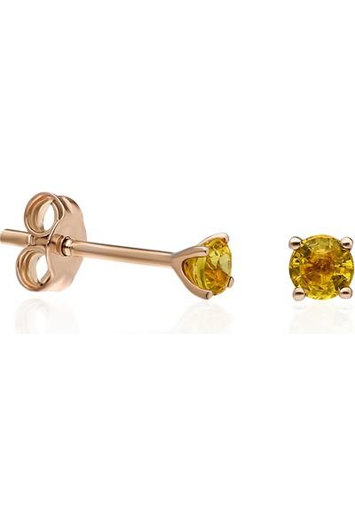 Karum Jewel Turuncu Safir Taşlı Altın Küpe