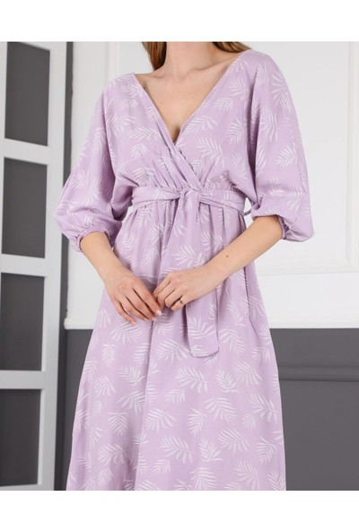 Banuhan Kruveza Beli Büzgülü Elbise