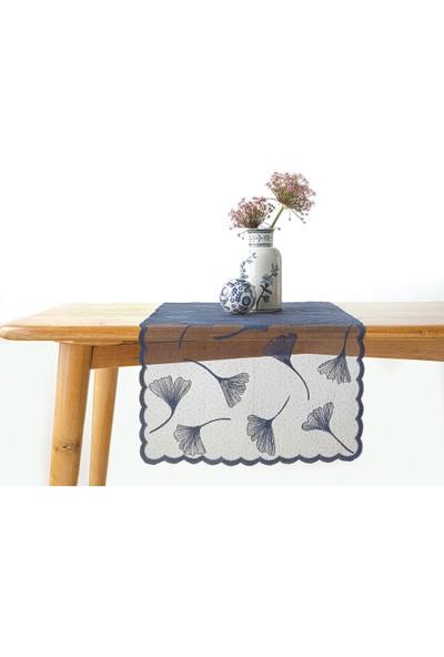 English Home Gingko Biloba Örme Runner 45 x 150 cm Lacivert