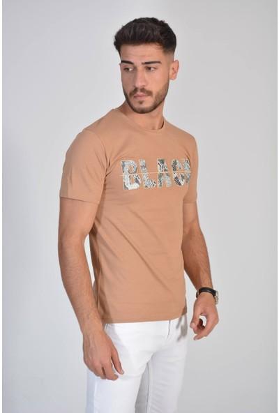 Zeren Erkek Bej Black Yazı Baskılı Tişört