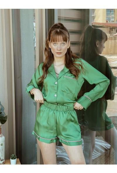 Serbella Yeşil Uzun Kol Şort Takım