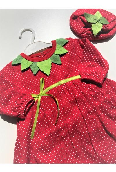 Kız Bebek Balon Etekli Çilek Elbise