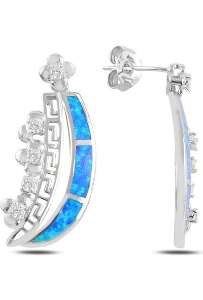 Silverella Gümüş 925 Ayar Opal & Zirkon Taşlı Sallantılı Çivili Küpe