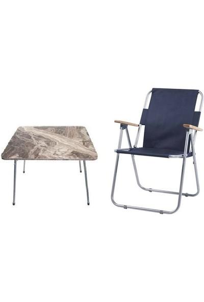 Marketonya 45X60 Kahverengi Mermer Desenli Katlanır Masa + 1 Adet Lacivert Kamp Sandalyesi Katlanır Sandalye