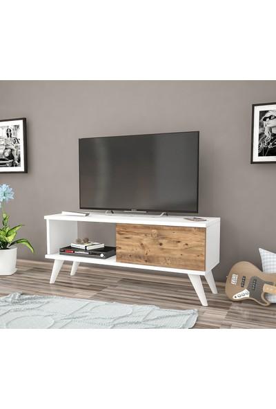 Ankara Mobilya Efe Beyaz Atlantik Çam 90 cm Tv Sehpası