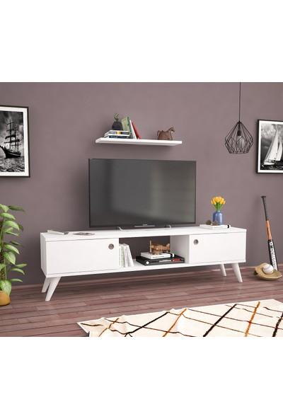 Ankara Mobilya Emre Beyaz 140 cm Tv Sehpası Tv Ünitesi
