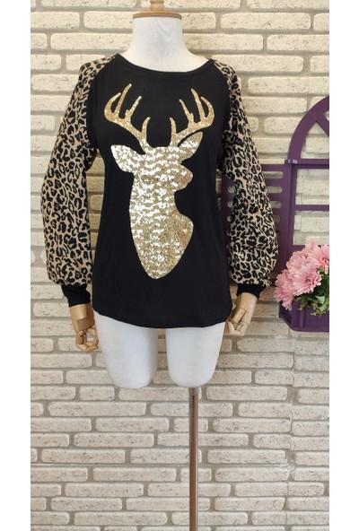 Trendus Fashion Pul Payet Işlemeli Leopar Detay Çilek Kumaş Bluz 60CM