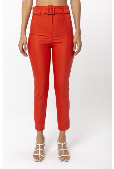 Coral Boru Paça Pantolon Kırmızı
