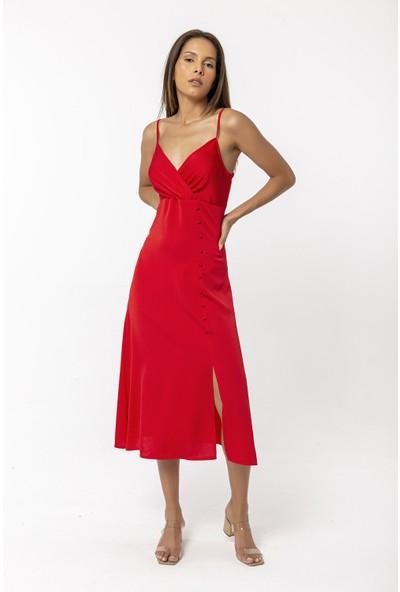 Coral Askılı Yırtmaç Detaylı Elbise Kırmızı