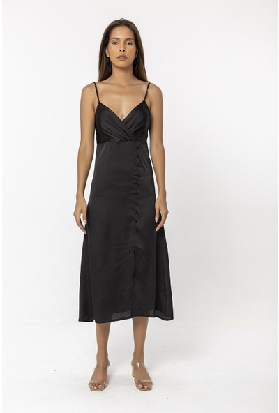 Coral Askılı Yırtmaç Detaylı Elbise Siyah