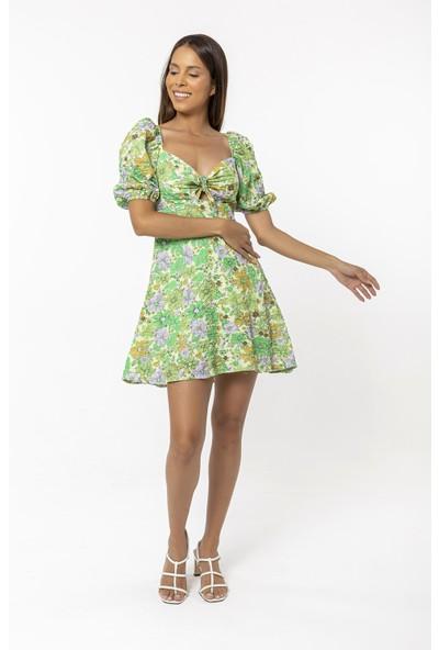 Coral Desenli Elbise Mint Yeşili