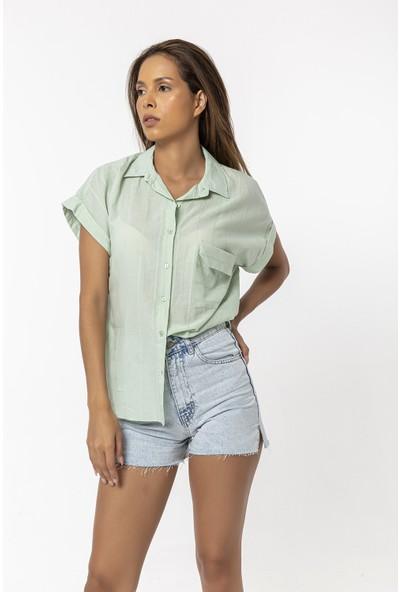 Coral Kapaklı Cepli Duble Kol Gömlek Mint Yeşili