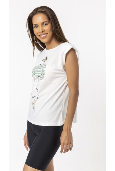 Coral Baskılı Vatkalı Kolsuz T-Shirt Mint Yeşili